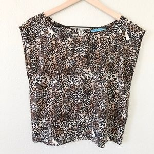 Alice and Olivia Silk Leopard Crop Top